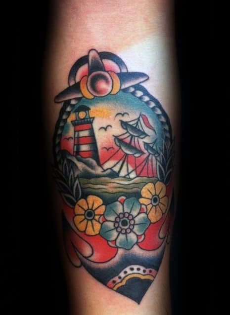 Guys Nautical Forearm Tattoos With Sinking Ship Design