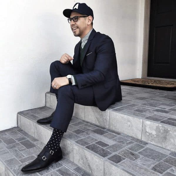 Guys Navy Blue Suit Black Shoes Fashion Ideas