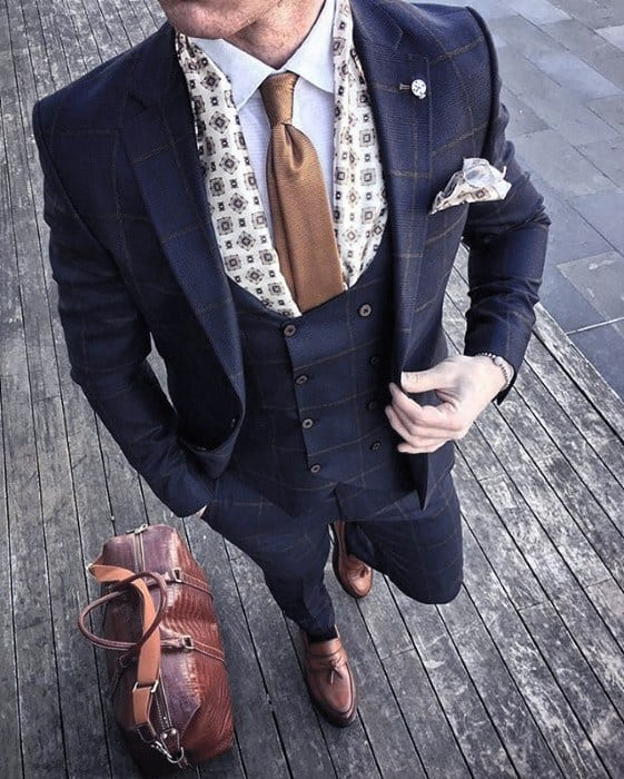 Guys Navy Blue Suit Brown Shoes Style Fashion Inspiration