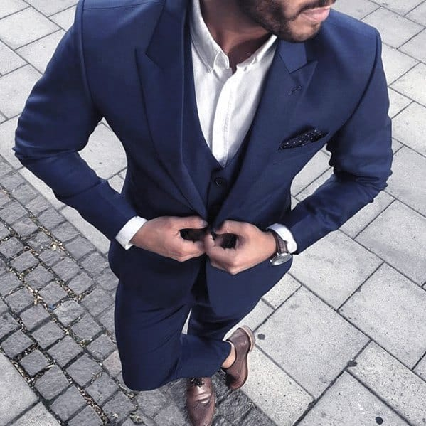 Guys Navy Blue Three Peice Peak Lapel Suit Brown Shoes Tieless Fashion Ideas
