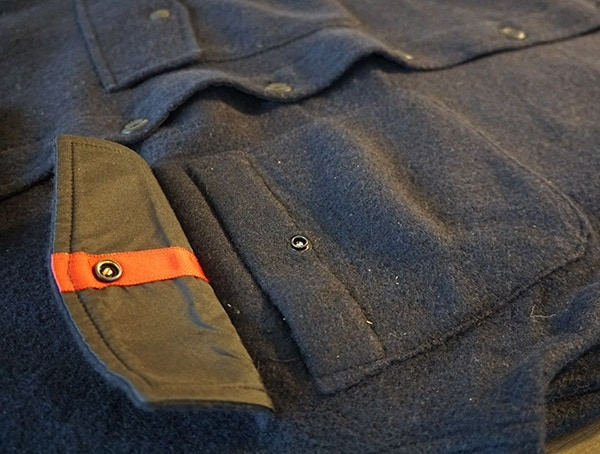 Guys Navy Topo Designs Wool Shirts With Upper Chest Pockets