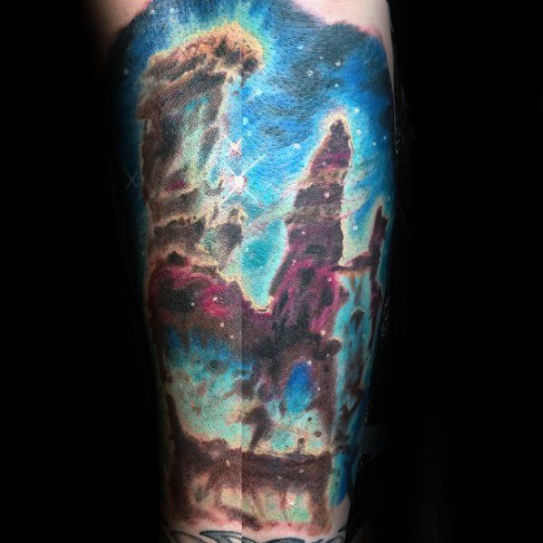 Guys Nebula Outer Space Tattoo Inner Forearm Design Idea Inspiration