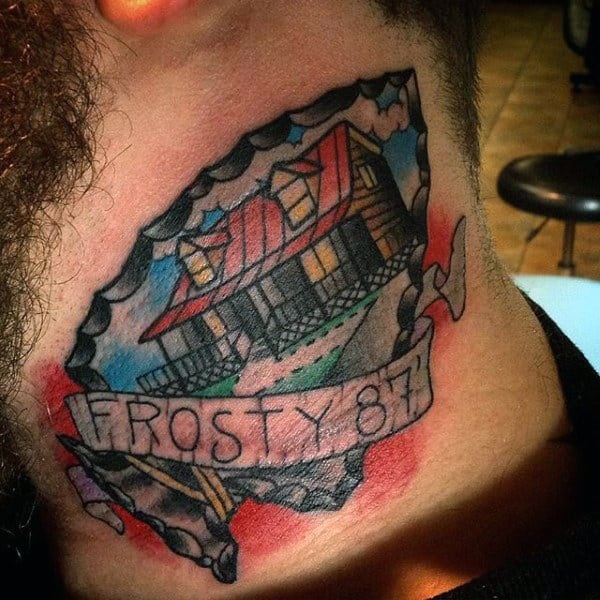 Guys Neck Arrowhead Tattoo With Lettering