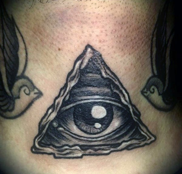 Guys Neck Black And White One Eyed Triangle Tattoo