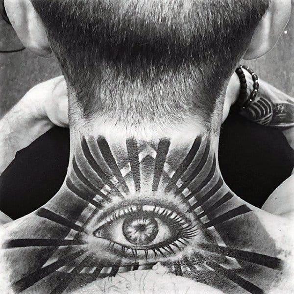Guys Neck Grey Illuminati Tattoo