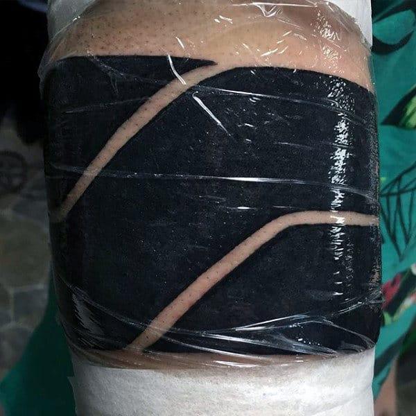 Guys Negative Space Blackwork Armband Tattoos