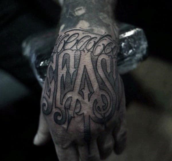 Guys Negative Space Script Beat Hand Tattoo