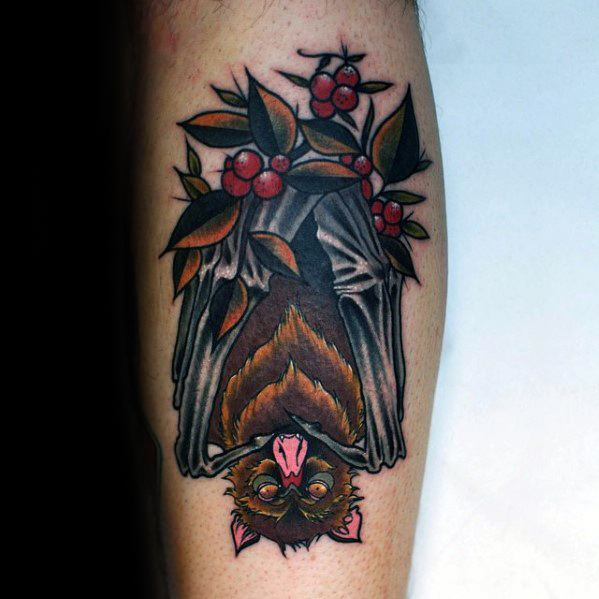 Neo traditional bat tattoo