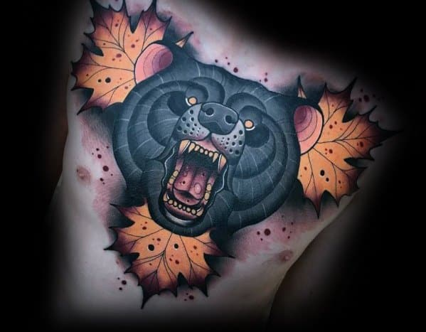 Guys Neo Traditional Bear Tattoo Design Ideas