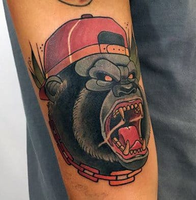 Guys Neo Traditional Gorilla Tattoo Design Ideas