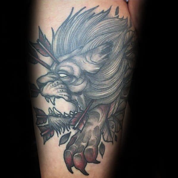 Guys Neo Traditional Lion Tattoo Designs