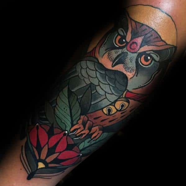 Guys Neo Traditional Owl Tattoo Design Ideas
