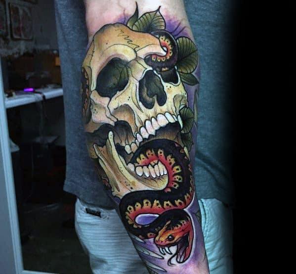 Guys Neo Traditional Snake Tattoo Design Ideas