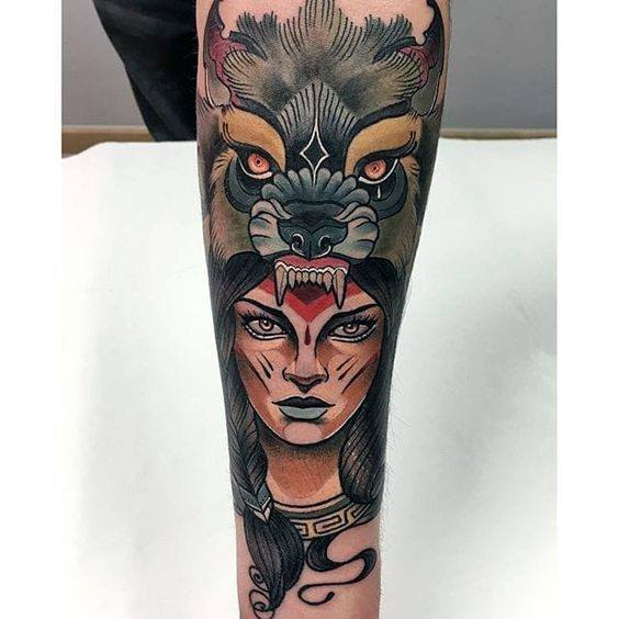 Guys Neo Traditional Wolf Tattoo Design Ideas