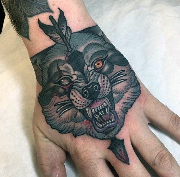 Guys Neo Traditional Wolf Tattoos