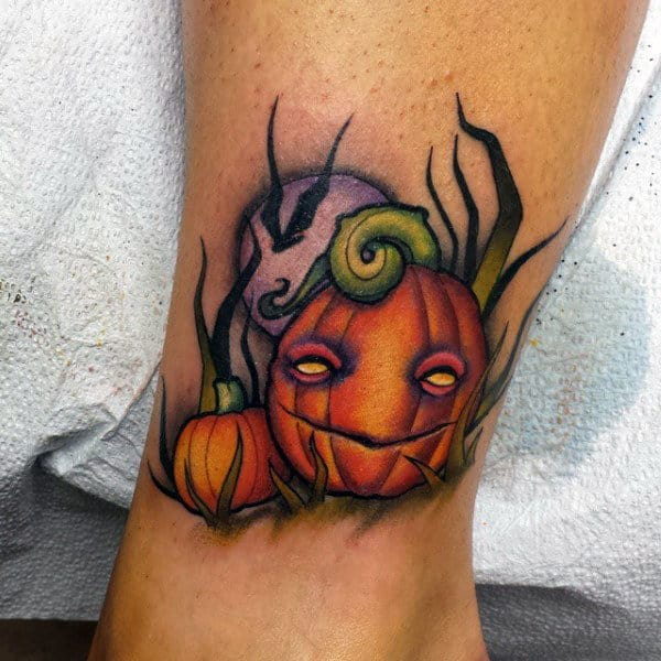 Guys New School Pumpkin Patch Tattoo With Moon