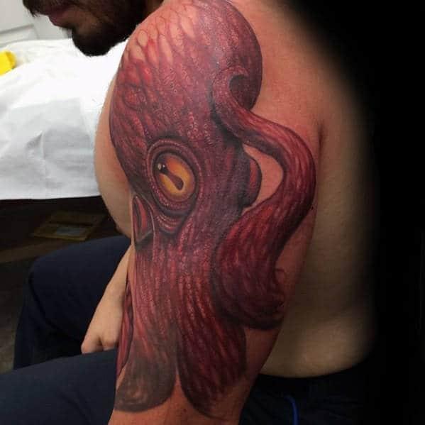 Guys New School Red Octopus Arm Tattoos