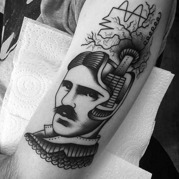 Guys Nikola Tesla Tattoo Design Ideas