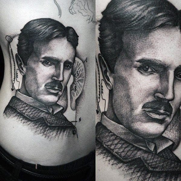 Guys Nikola Tesla Tattoo Designs