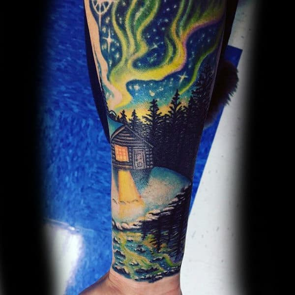 Guys Northern Lights Cabin In The Woods Sleeve Tattoo On Forearm