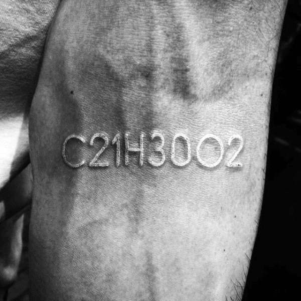Guys Numbers And Letters White Ink Wrist Tattoo Inspiration