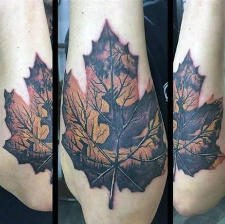 Guys Oak Leaf Tattoo Designs With Deer