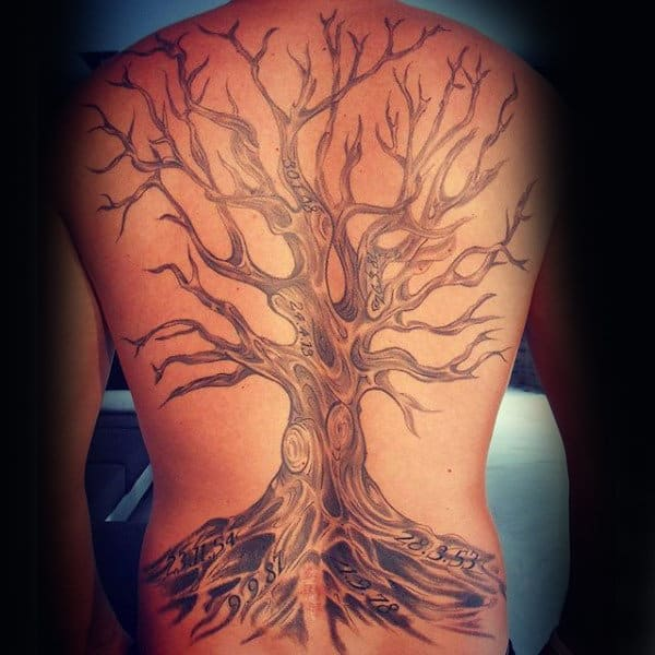 Guys Oak Tree Full Back Tattoo With Roots