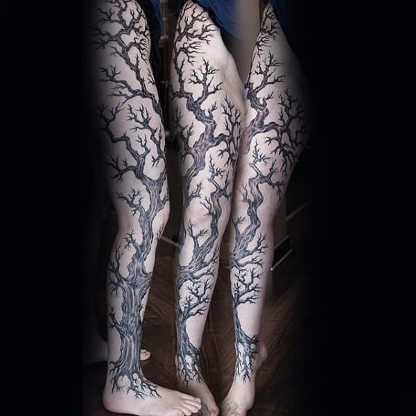 Guys Oak Tree Sleeve Leg Tattoo Ideas