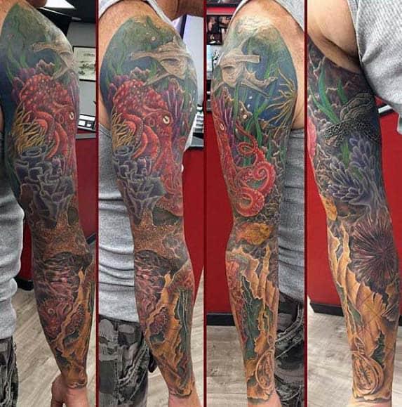 Guys Ocean Sleeve Full Arm Tattoo Ideas