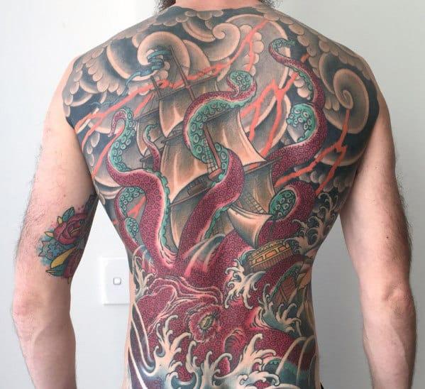 Guys Octopus Kraken Japanese Full Back Tattoo