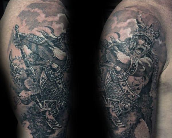 Guys Odin Battlefield Tattoo Design On Arm