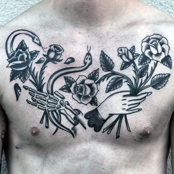 Guys Old School Flower And Hands Life And Death Chest Tattoo