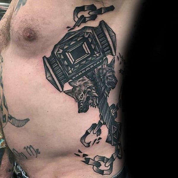 Guys Old School Hammer Tattoo Design With Broken Metal Chain