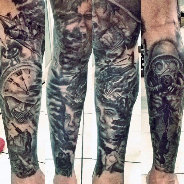 Guy's Old School Military Tattoos