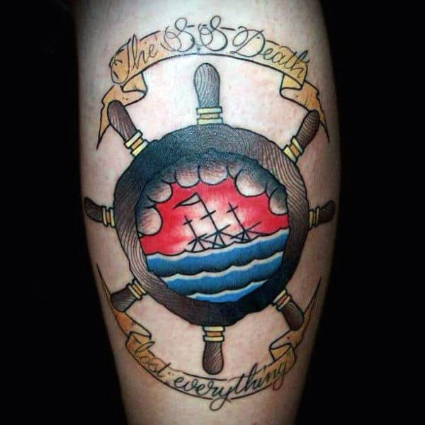 Guys Old School Ship Wheel With Quote Tattoos On Arm
