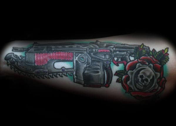 Guys Old School Traditional Gears Of War Rose Flower Outer Arm Tattoo