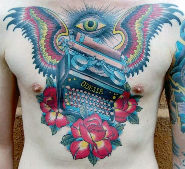 Guys Old School Typewriter Wings Tattoo On Chest