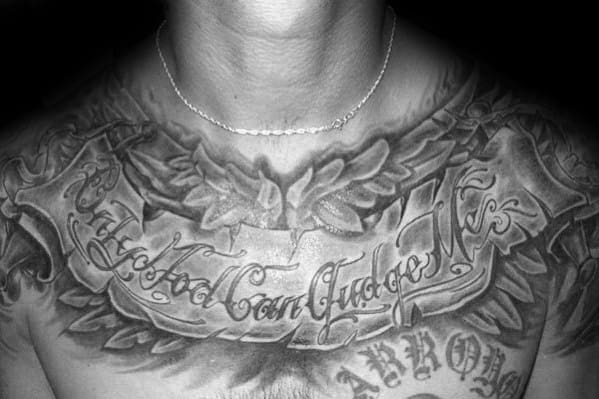 guys only god can judge me scroll tattoo design on chest