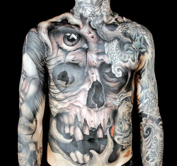 Guys Optical Illusion Skull With Eyes Mens Full Body Chest Tattoo