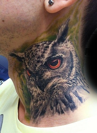 Guys Orange Eyed Owl Neck Tattoos With Realistic Design