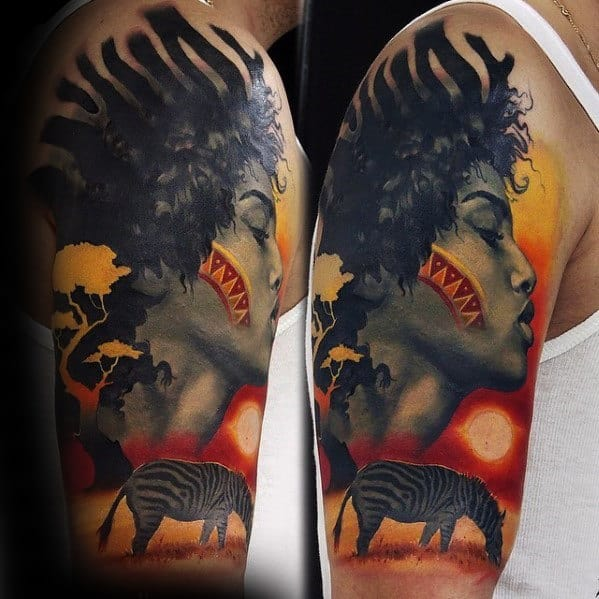Guys Orange Red And Black Ink Africa Half Sleeve Tattoos