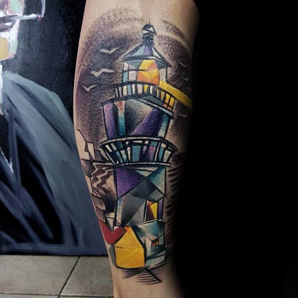 Guys Original Lighthouse Colorful Sketched Leg Tattoo