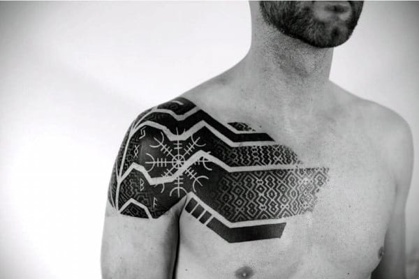 Guys Original Rune With Geometric Pattern Chest And Shoulder Cap Tattoo