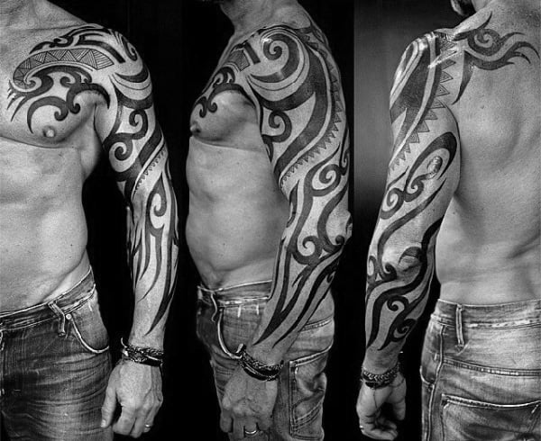 Guys Original Tribal Full Arm Tattoo Ideas