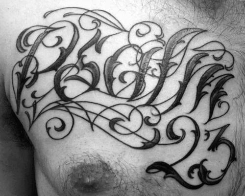 Guys Ornate Psalm 23 Lettering Upper Chest Tattoos