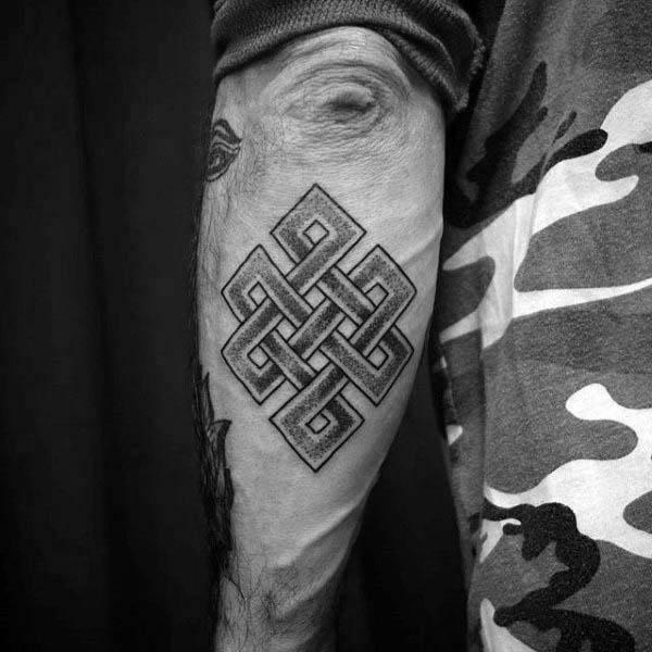 Guys Outer Elbow Dotwork Endless Knot Tattoo Design