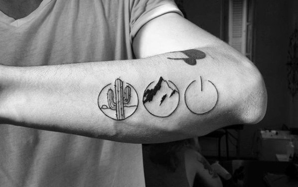 Guys Outer Forearm Simple Nature Themed Circle Tattoos