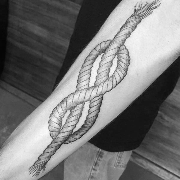 Guys Outer Forearm Tattoo Of Rope Knot