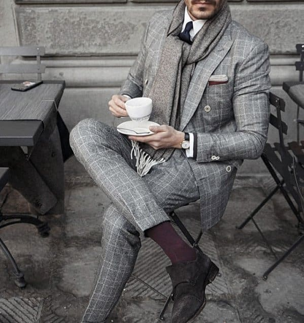 Guys Outfits Charcoal Grey Suit Brown Shoes And Grey Scarf Ideas