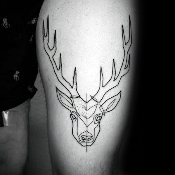 Guys Outline Deer Thigh Tattoo Designs